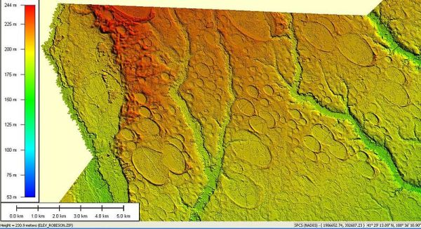 Digital elevation data image of 300 square miles of Carolina bays in Robeson County, N.C.
