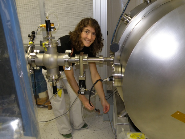 At her job as an Electrical Engineer at the Johns Hopkins University Applied Physics Lab using a particle accelerator to test an instrument for the NASA Juno Mission to Jupiter; Laurel, MD.  Photo compliments of Christina Hammock.