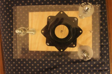 "Top view of the Smartphone microscope. The black thing is the rotating ""stage"" we added, essentially a tiny Lazy Susan."