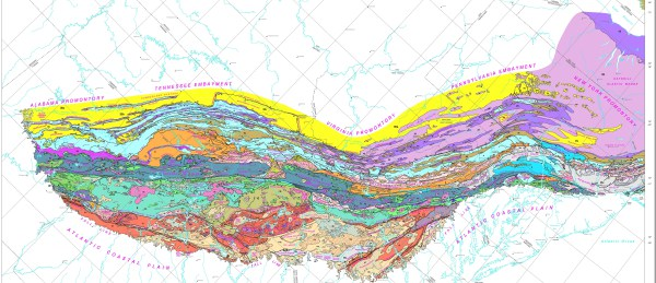 This geologic map of the Appalachians, from Alabama to New York, gives an idea of the complexity of the mountain geology.