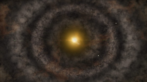 Artistic rendering of a protoplanetary disk around a young star, much like HL Tau. Planets are shown forming in the gaps in the disk (Credit: National Science Foundation, A. Khan).