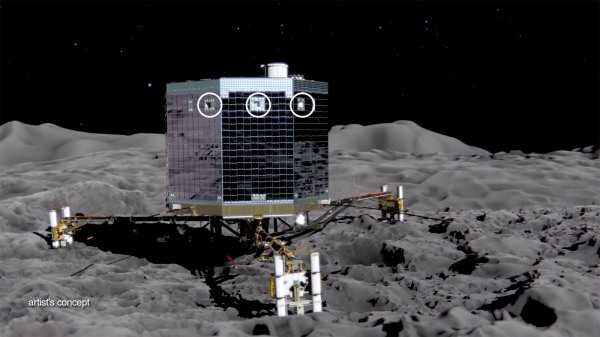 Artistic rendering of Rosetta's robotic lander, Philae, touching down on Comet 67P's surface (Credit: NASA).