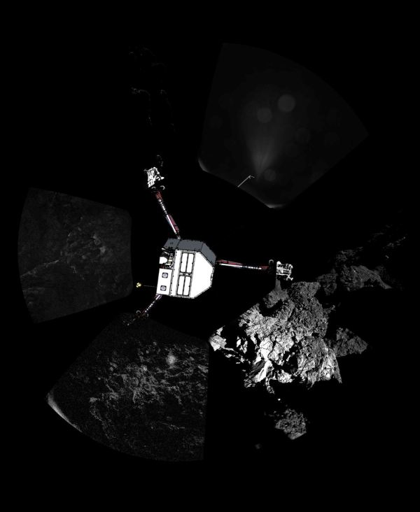 Panoramic image of Philae's final landing site captured by the Rosetta orbiter's CIVA-P imaging system.  The 360º view shows roughly the point of final touchdown. The lander is sketched on top of the image in its estimated configuration (Credit: ESA/Rosetta/Philae/CIVA).