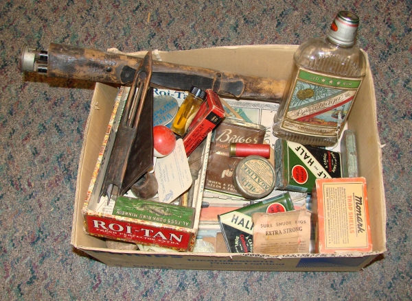 Box of hunting and fishing items. (NCMNS/Margaret Cotrufo)