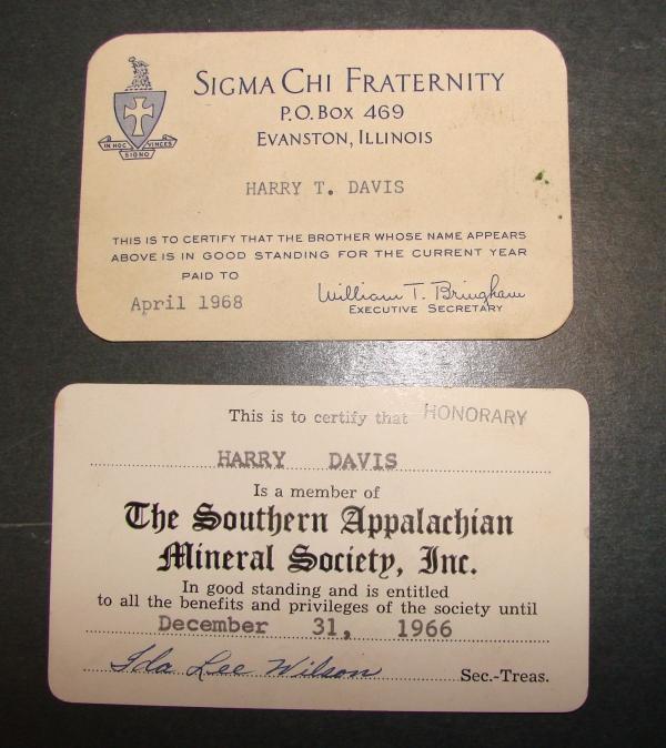 Membership cards belonging to Harry Dais. (NCMNS/Margaret Cotrufo)
