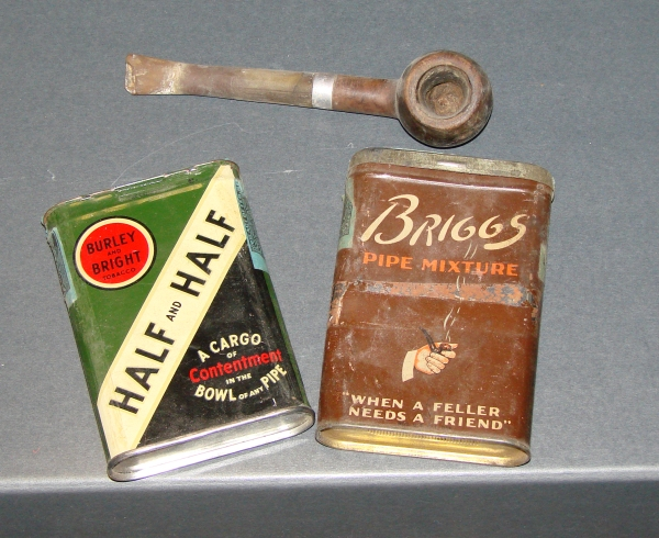Pipe and tins of tobacco. (NCMNS/Margaret Cotrufo)