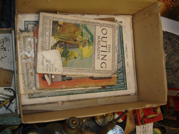 box of old hunting and fishing magazines