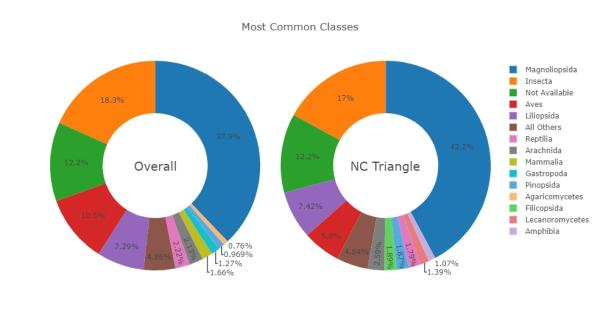 City Nature Challenge results - most commonly reported organismal classes